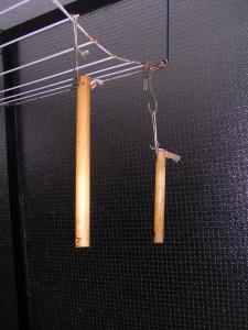 De handgrepen hangen te drogen
